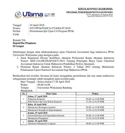 Surat Izin Mengikuti Ujian Chartered Accountan PPAK April 2018